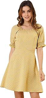 Allegra K Women's Daisy Smocked Gingham Plaid Summer Flare Dress