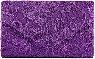 Loosnow Women Lace Floral Day Clutch Wedding Bride Evening Party Bag Envelope Handbag Banquet Purse