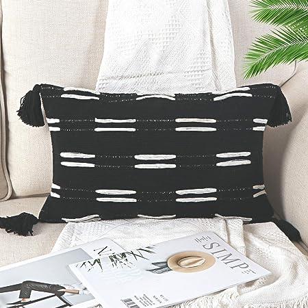 Bed Pillow Cover Kilim Lumbar Cover 16\u201dX24\u201d Lumbar Cover Pillow Pair Pillow Cover Pair Lumbar Cover Natural Black Striped Kilim Lumbar