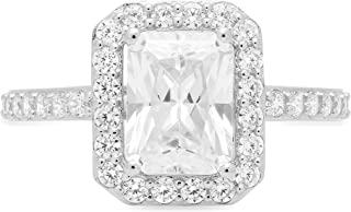 2.17ct Brilliant Emerald Round Cut Halo Solitaire Statement Simulated Diamond Petite Ring in Solid 14k White Gold for Women