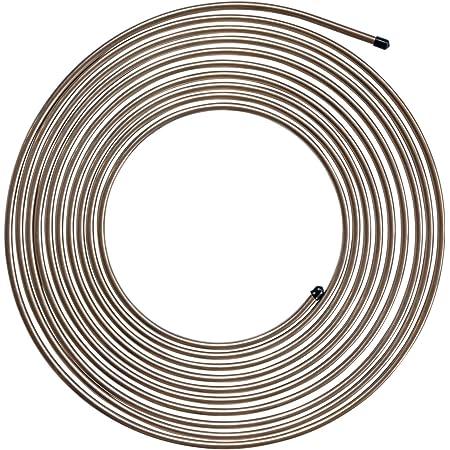 Vaorwne Copper Nickel Brake Line Tubing Kit 1//4Inch OD 25 Ft Coil Roll Tube /& 16 Pcs Tube Nut Fittings
