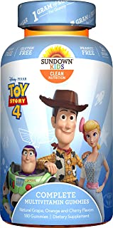 Sundown Kids Sundown Naturals Kids Pixar Toy Story 4, Complete Multivitamin, Gluten & Dairy Free, 180 Gummies, 180Count