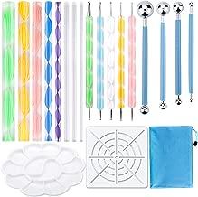 19PCS Mandala Dotting Tools Set Pen Dotting Tools Mandala Stencil Ball Stylus Paint Tray for Painting Rocks, Coloring, Drawing and Drafting