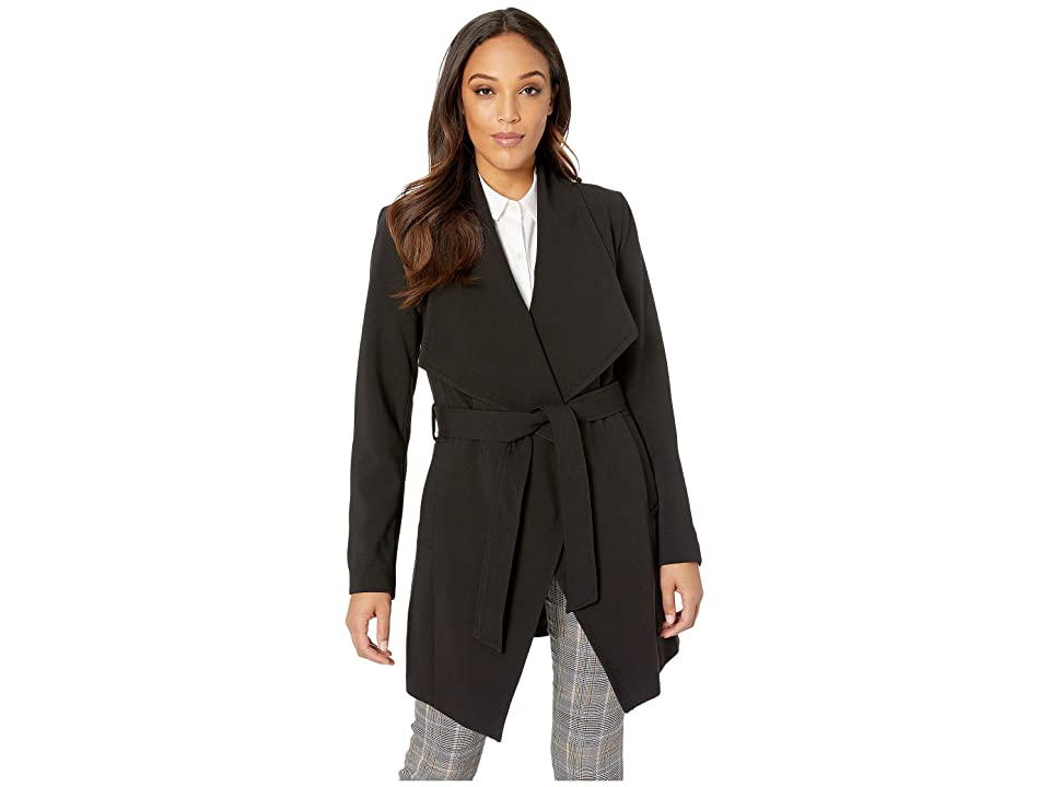 Tahari Shawl Collar Wrap Coat (Black) Women