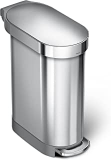 simplehuman 45 Liter / 12 Gallon Slim Hands-Free, Brushed Stainless Steel Kitchen Step Trash Can with Liner Rim