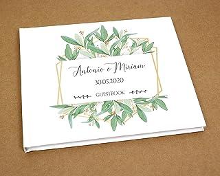 Guestbook matrimonio libro dediche e auguri invitati personalizzato boho chic cornice oro geometrica