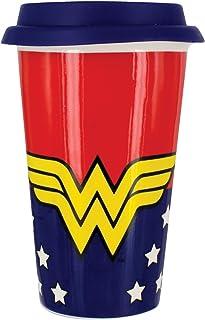 DC Comics Wonder Woman - Taza de Viaje, Porcelana, Multicolor, 9 x 9 x 15 cm