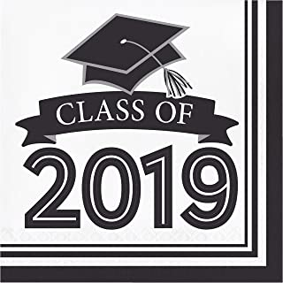 Creative Converting 335420 White Class Of 2019 Napkins, 6.5