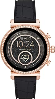 Michael Kors Access Women's Sofie Heart Rate' Stainless Steel Touch-Screen Smartwatch with Silicone Strap, Black, 18 (Model: MKT5069)