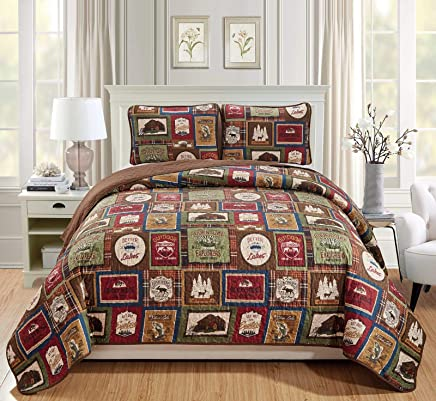Rugs 4 Less Southwestern Great Outdoors Wilderness Cabin Lodge and Lakehouse 3-Piece Quilt Bedding Set with Plaid Patterns and Outdoor Destination Signs Quilted Bedspread (King/Cal-King - Lodge)