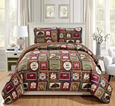 Rugs 4 Less Southwestern Great Outdoors Wilderness Cabin Lodge and Lakehouse 2-Piece Quilt Bedding Set with Plaid Patterns and Outdoor Destination Signs Quilted Bedspread (Twin - Lodge)