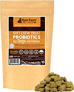 Raw Paws Natural Dog Probiotic Supplement with Prebiotics - USA Made Daily Probiotic for Dogs Soft Chew - Treat Diarrhea in Dogs, Yeast, Dog Breath & Gas with Our Canine Probiotic Chews