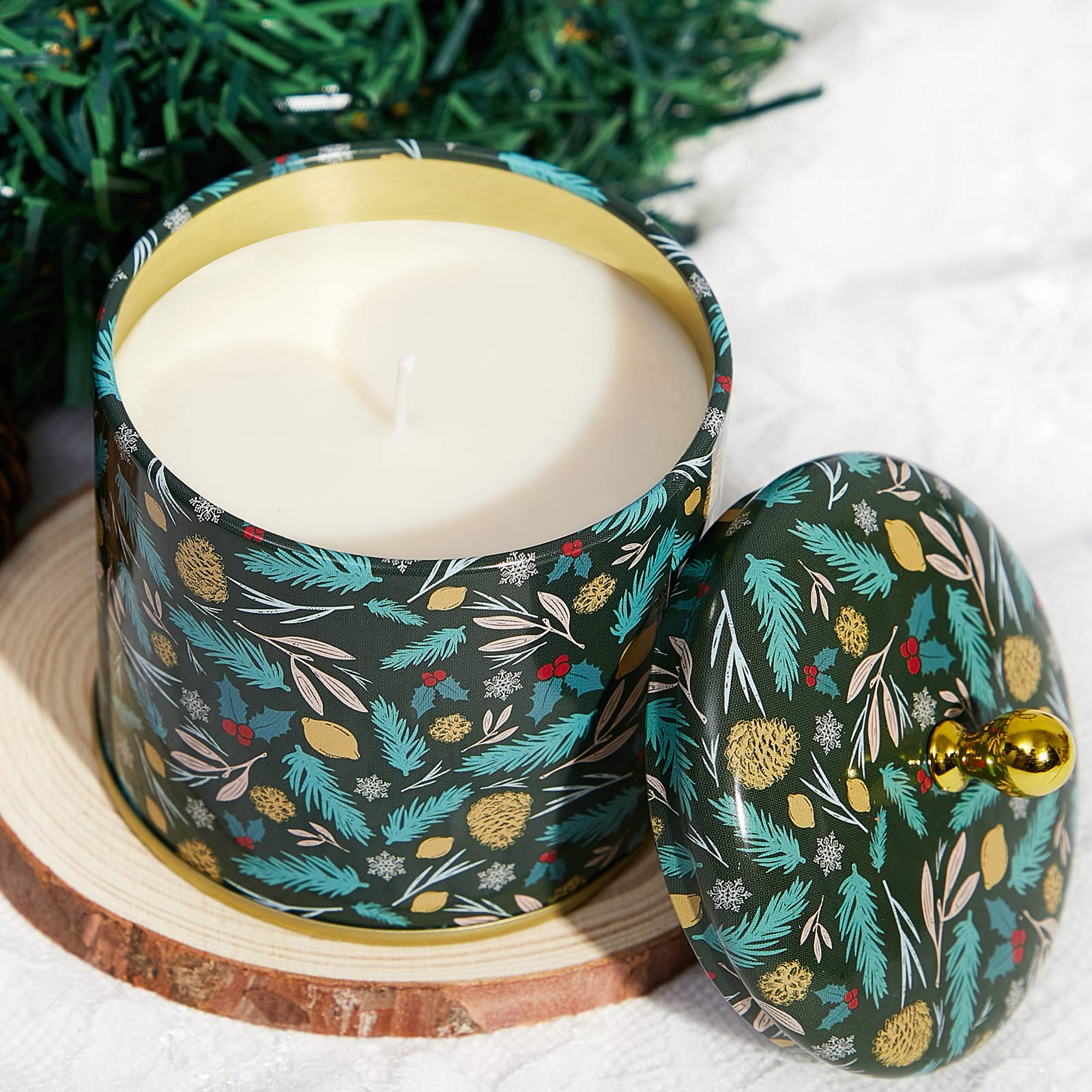 Gift Box Amber jar scented candle Moss and Sage House Warming gift BALSAM CEDAR Fir Pine Soy Candle Quiet Forest Home Decor