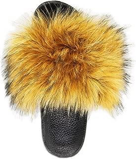 NewYouDirect Fur Slides for Women,Fuzzy Sandals Flip Flop Furry Slides Soft Flat for Indoor Outdoor