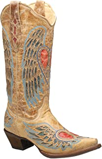 corral heart angel wing cowgirl boots square toe