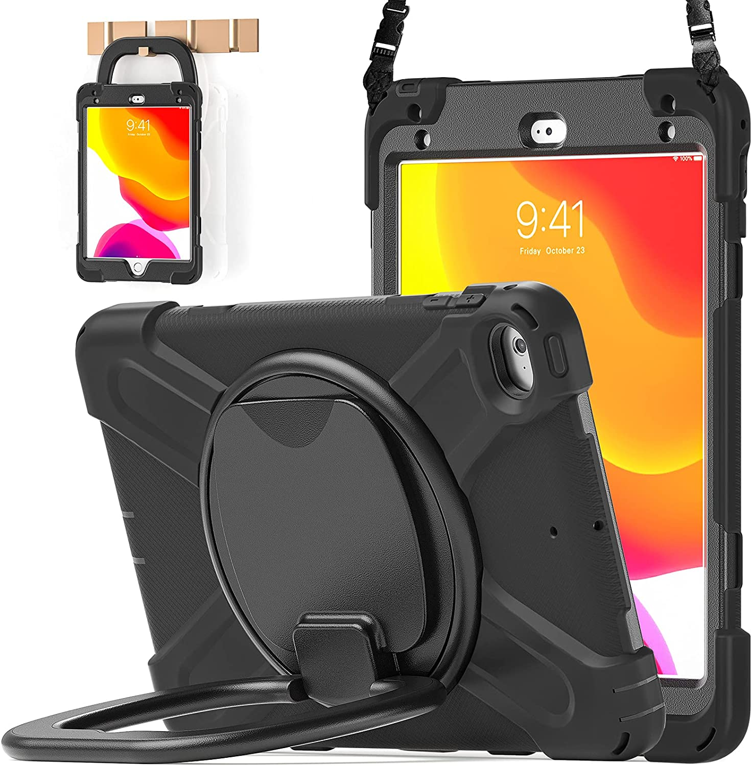 BATYUE iPad Mini 5 Case,iPad Mini 4 Case, Heavy Shockproof Drop Case with Pencil Holder , 360° Swivel Stand , Shoulder Strap;Cover for iPad Mini 5th/4th Generation 7.9 Inch;for KidsBlack