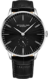 Stuhrling Men s Black Dial Leather Band Watch - 849.02