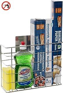 Organizador de almacenamiento de cocina para papel de aluminio, esponjas y envoltura de plástico. Autoadhesivo, por lo que no se necesitan perforaciones ni fijaciones.