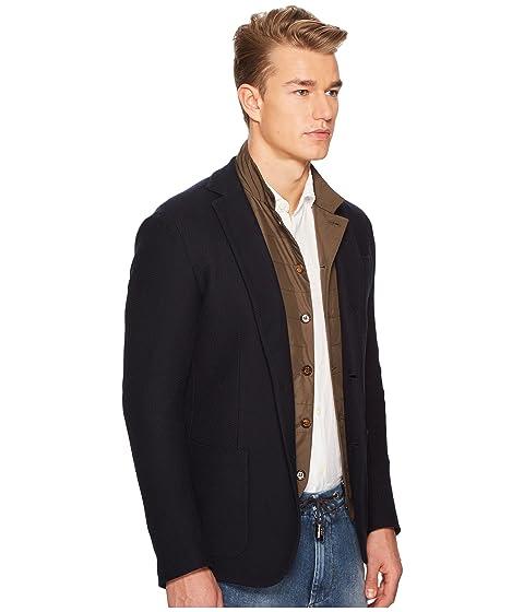 chaqueta textura azul marino de once jersey con pfFpxH