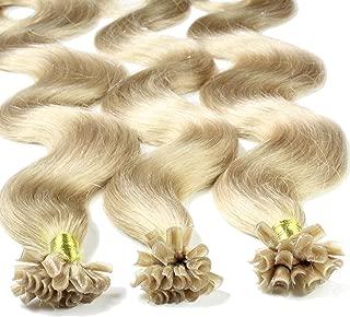 Hair2Heart 25 x 0.5g Extensiones de queratina - 60cm, colore #20 cenicienta es rubia, corrugado