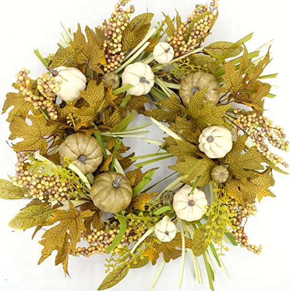 Idyllic Artificial Pumpkin Wreath 24 Inches Round Wreath For Fall Festival Celebration Wall Window Party Decor