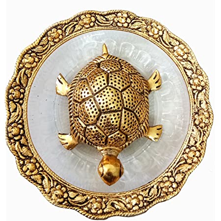 Trendy Crafts Metal Feng Shui Tortoise On Plate Showpiece (Golden, Diameter:5.5 Inch)