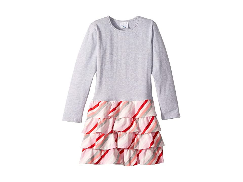 Toobydoo Ruffle Dress (Toddler/Little Kids/Big Kids) (Pink/Grey Stripe) Girl