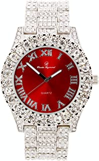 Mens Silver Big Rocks Bezel Bloody-Red Dial with Roman Numerals Fully Iced Out Watch - Blood Red/Silver- ST10327