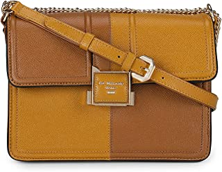 Da Milano Dual tone Yellow and Brown Leather Sling Bag