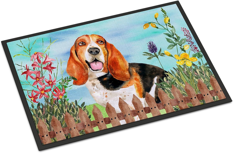 Caroline's Treasures Basset Hound Spring Doormat, 24  x 36 , Multicolor