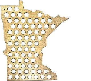 All 50 States Beer Cap Map - Minnesota Beer Cap Map MN - Glossy Wood - Skyline Workshop