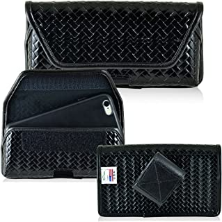 Law Enforcement Rugged Genuine Leather Basket Weave Duty Belt Police Case with Hook and Loop Closure fits iPhone 8 Plus