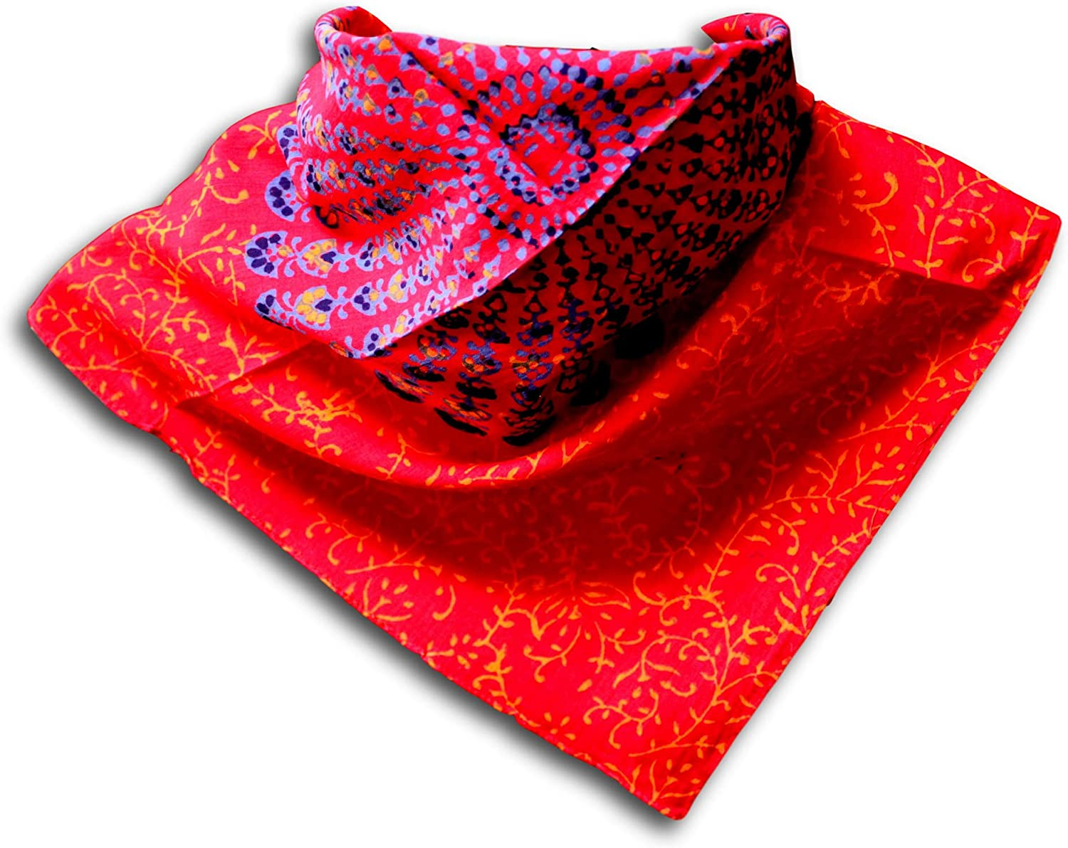 Large Cotton Scarfs for Women Lightweight Soft Sheer Neck Scarf, Head Scarf, Block Print Sanganer Summer Floral Scarf, Bandanas for Women, Handmade Red Blue Fashion Scarf Square Shawl Stole Wrap 21x21