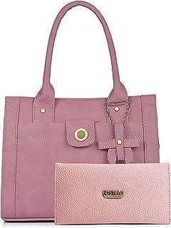 Fostelo Women's Handbag with Clutch (Set of 2) (FSB-1200-FC-39_Light Pink)
