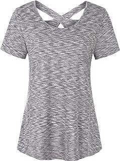 Soogus Woman Short Sleeve Round Neck Criss Cross Back Workout Tops Yoga Shirts