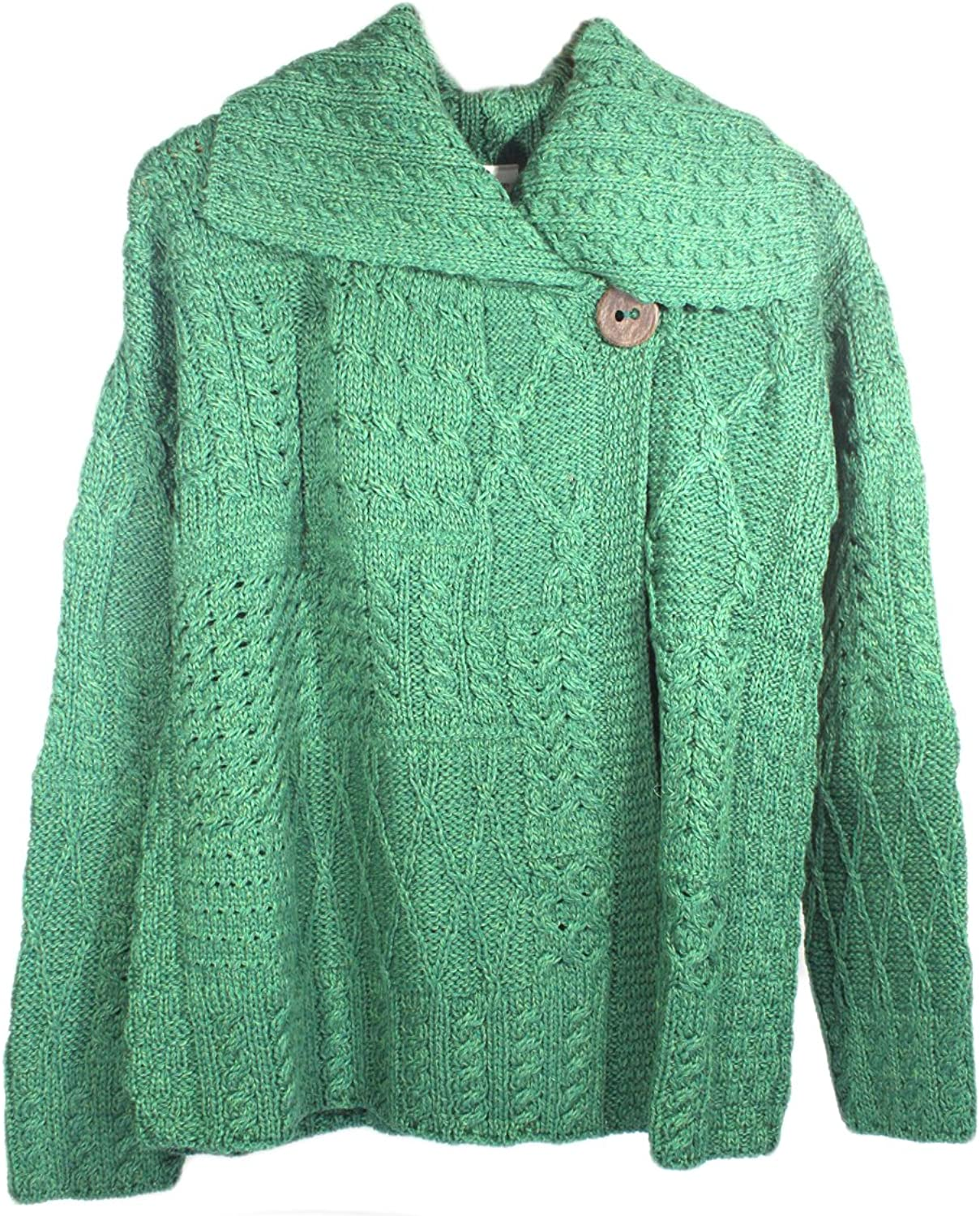 Carraig Donn Ladies Patchwork Cardigan, Kiwi Green