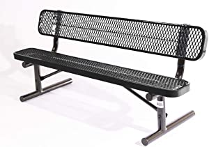 Coated Outdoor Furniture B6WBP-BLK Park Bench Back, 6 Feet, Black