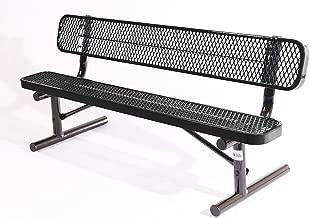 Coated Outdoor Furniture B6WBP-BLK Park Bench Back, 6 Feet, Black