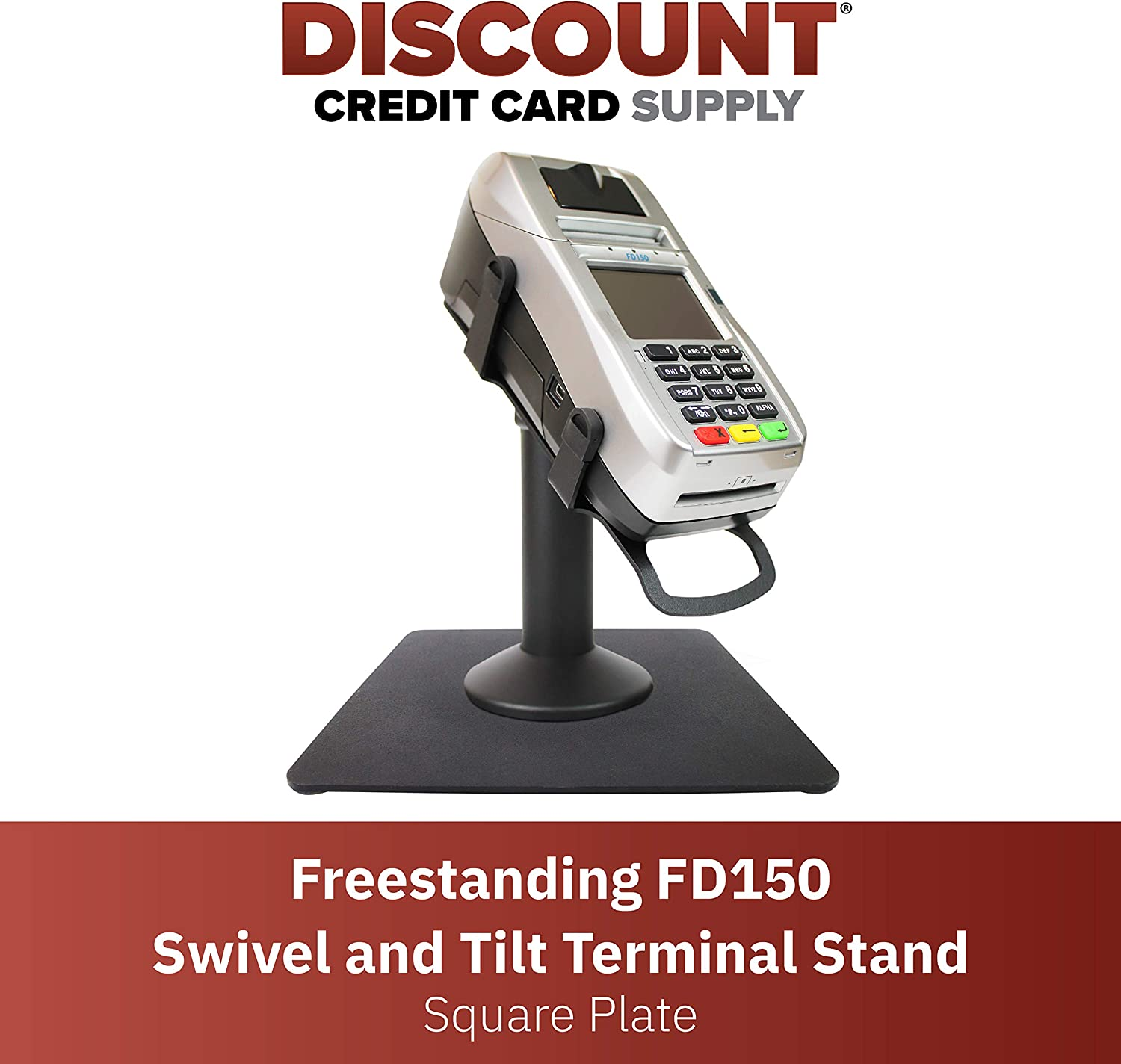 DCCStands Freestanding Swivel and Tilt First Data FD150 Terminal Stand with Square Plate, Black