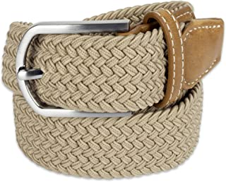 E-Living Store Men's 32mm Woven Expandable Braided Stretch Belts, (Available in Multiple Colors & Sizes S-XXXXXL)