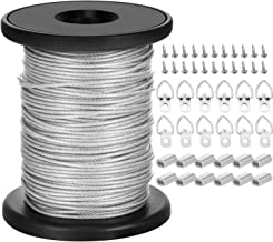 Chengu Picture Hanging Wire with 20 Pieces D-Ring Picture Hangers with Screws, 20 Pieces Aluminum Crimping Loop Sleeves, 1.5 mm x 131 Feet Stainless Steel Wire Spool, Supports up to 110 lbs