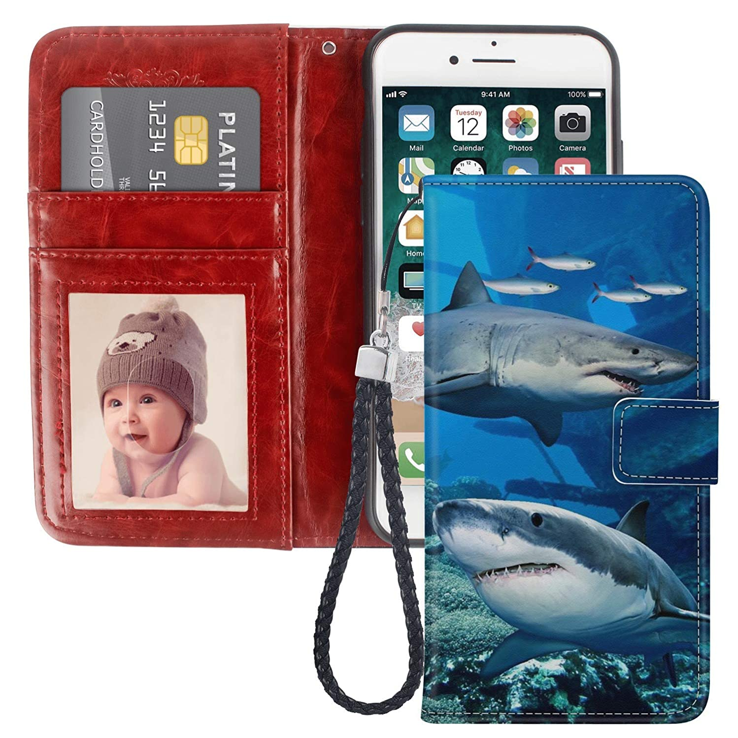 Shark iPhone 6 Plus Case for Kickstand PU Leather Card Slot Magnetic Flip Wristlet Phone Cover iPhone 6S Plus Shark Wallet Case