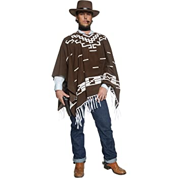Mexican Poncho Adults Colourful Western Cape Mens Ladies Fancy Dress