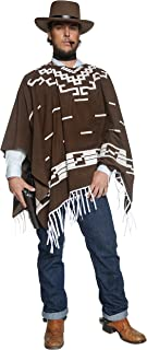 (Large) - Smiffy's Adult Men's Authentic Western Wandering Gunman Costume, Poncho, Vest, Faux Shirt and Neck Scarf, Wester...