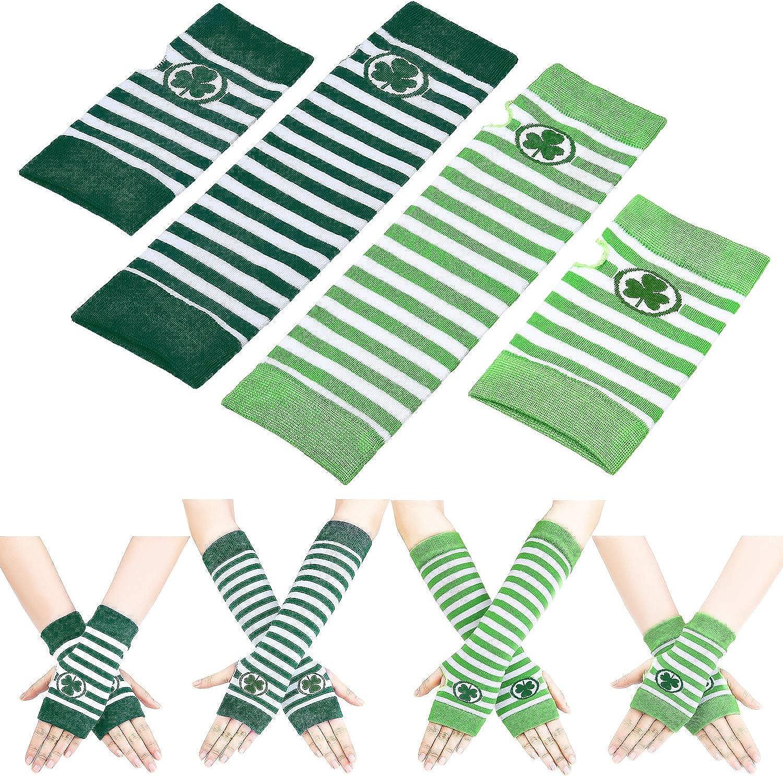 4 Pairs St. Patrick's Day Glove Arm Warmer Unisex Fingerless with Shamrock Pattern