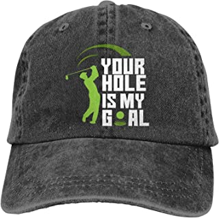 Your Hole is My Goal Funny Golf Sport Hats for Men Women Distressed Baseball Cap Beach Dad Sun Hat Black