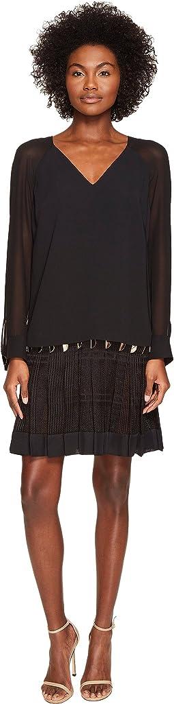 Long Sleeve Sheer V-Neck Dress