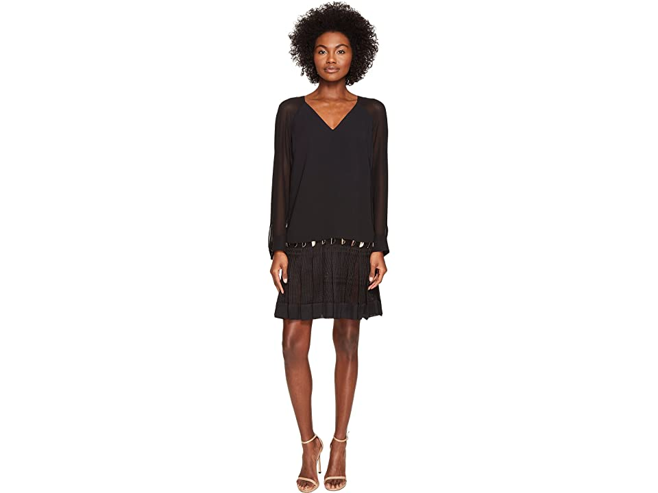 Versace Collection Long Sleeve Sheer V-Neck Dress (Nero) Women