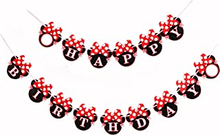 Red Minnie Happy Birthday Banner Mini Mouse Style Party Decorations Supplies Baby
