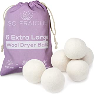 SO FRAICHE - 6 Extra Large Wool Dryer Balls - 100% Organic Premium New Zealand Wool - Natural and Reusable Laundry Softene...